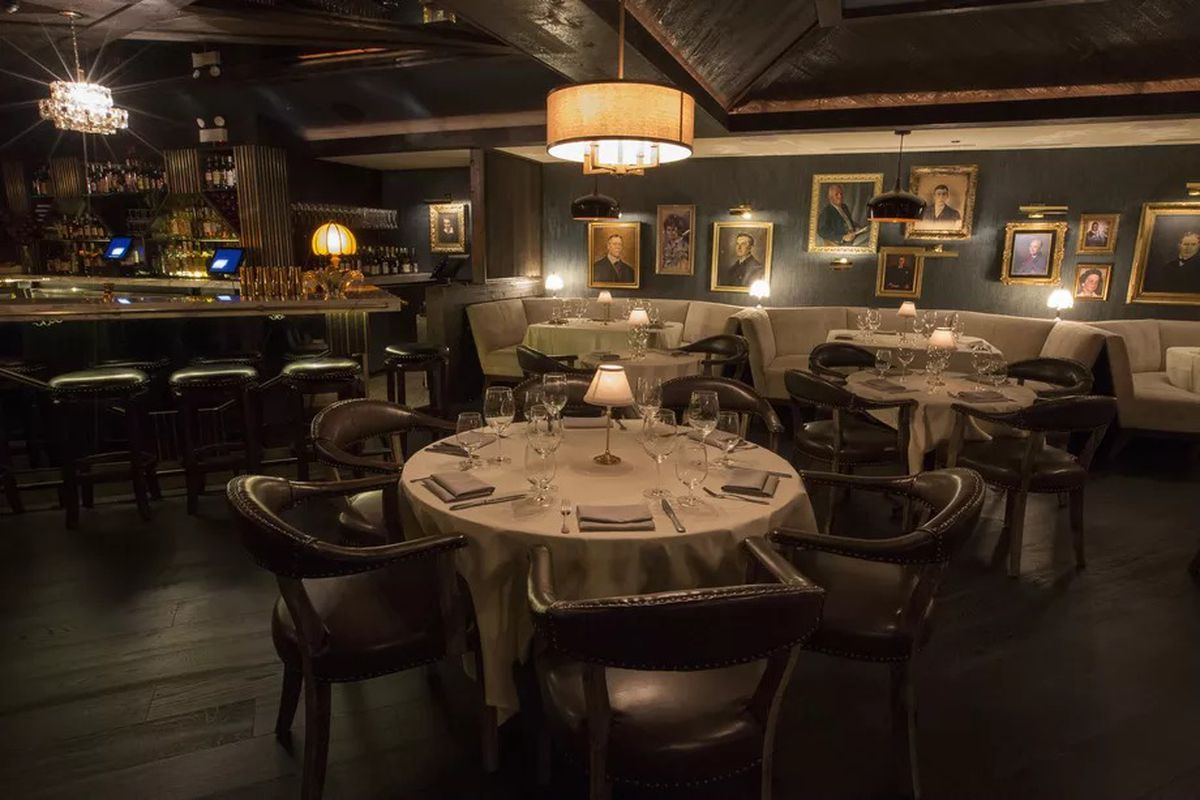 A table in a dark dining room at a Chicago version of a forthcoming SF restaurant