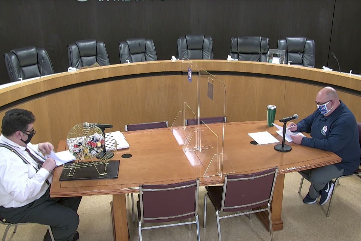 The city Board of Elections held a lottery Thursday to determine the order candidates will appear on the ballot in the June 22 primary.