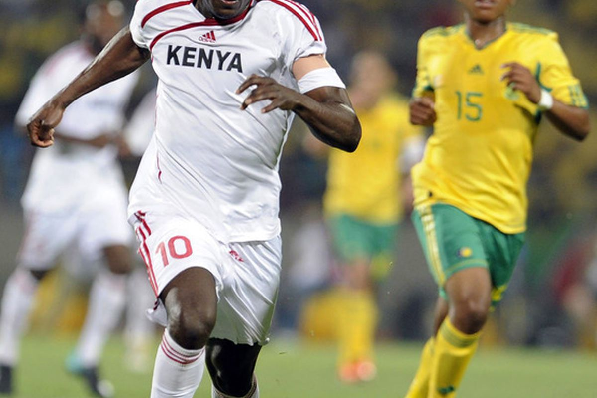 Kenya's captain Dennis Oliech is one of a select few of internationally based players on Kenya's national team.