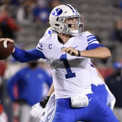 BYU quarterback Zach Wilson throws a pass during the first half of an NCAA college football game against Houston, Friday, Oct. 16, 2020, in Houston.