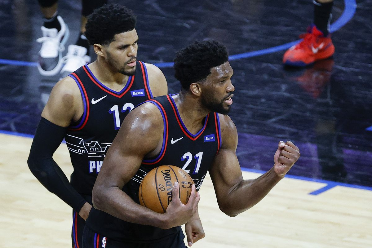 Joel Embiid of the Philadelphia 76ers reacts during the fourth quarter against the New Orleans Pelicans at Wells Fargo Center on May 07, 2021 in Philadelphia, Pennsylvania.