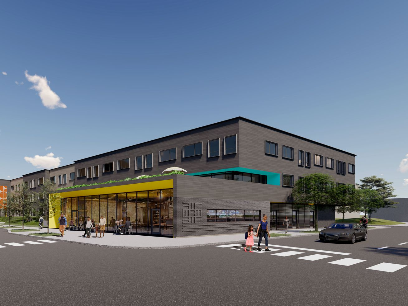 A rendering of the first affordable housing building planned at Kedzie and Fifth avenues.