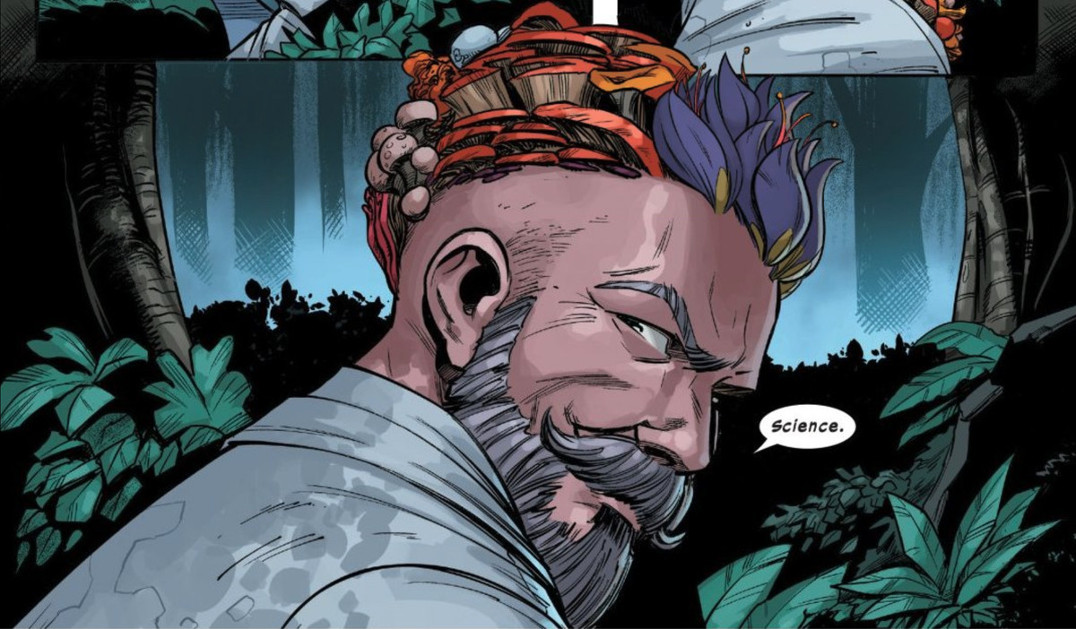 Dr. Nemesis shows off the mind-expanding mushrooms growing out of his skill in Way of X #1, Marvel Comics (2021)
