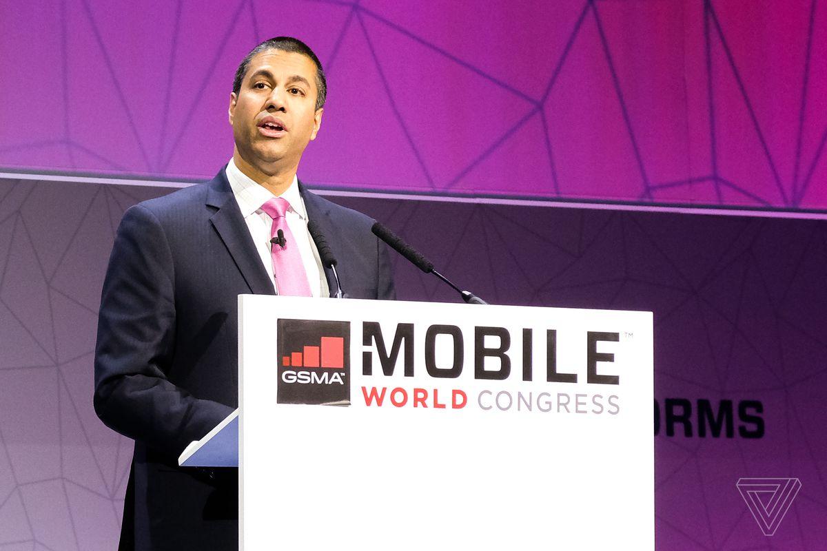 FCC Chairman Ajit Pai speaks at Mobile World Congress 2017 in Barcelona, Spain.