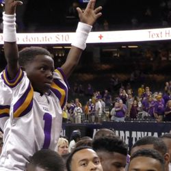 """Saints superfan Jarrius """"Little JJ"""" Robertson sits on an LSU player's shoulders following the Tigers' 27-0 victory over BYU on Saturday, Sept. 2, 2017, at Mercedes Benz Superdome in New Orleans."""
