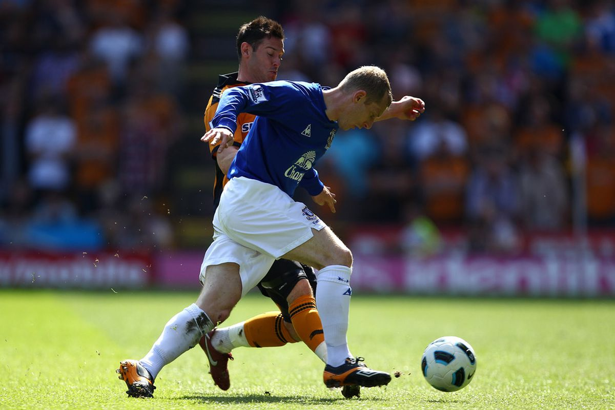 Could Tony Hibbert, here seen holding off Matt Jarvis of Wolves, get his maiden Everton goal in his testimonial game.? (Photo by Richard Heathcote/Getty Images)