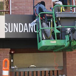 A sign is hung as preparations for the Sundance Film Festival continue in Park City on Tuesday, Jan. 17, 2017.