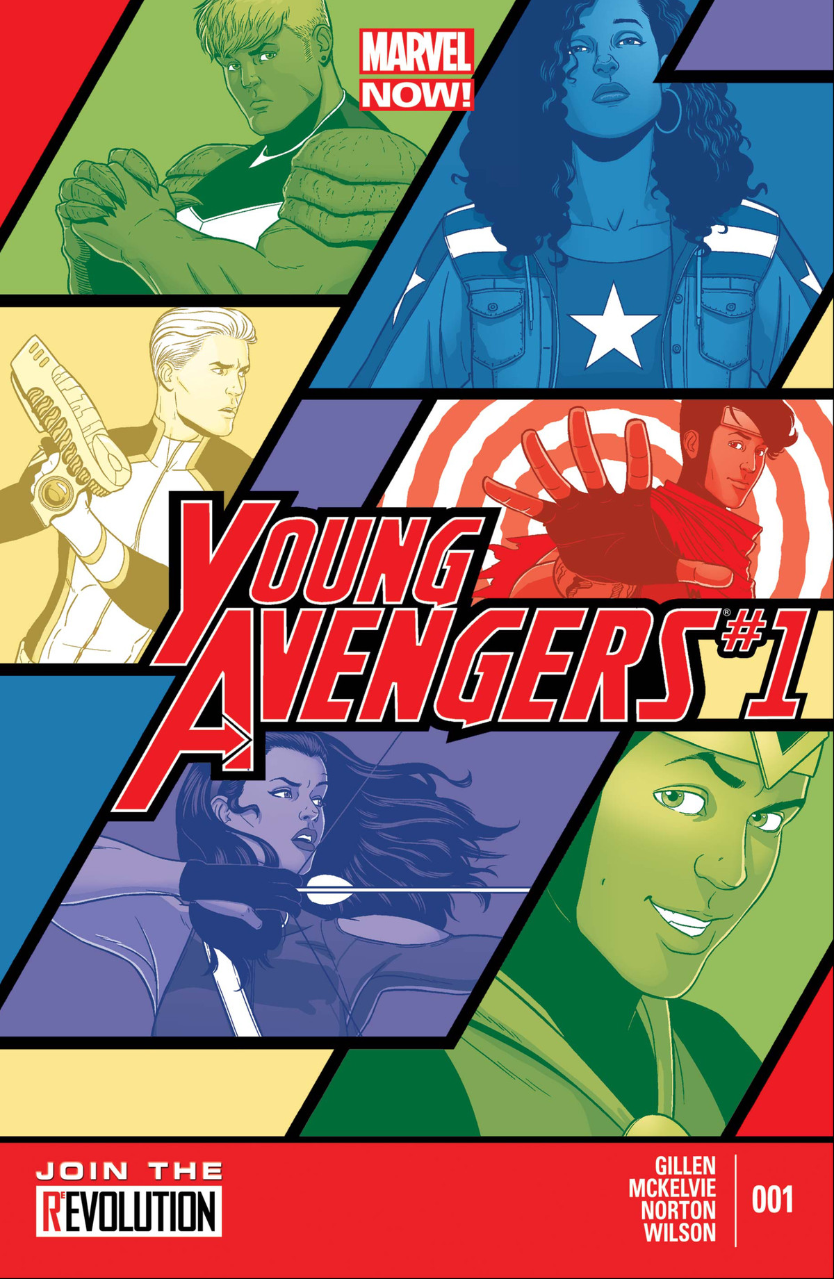 Hulkling, America Chavez, Marvel Boy, Wiccan, Kate Bishop, and Kid Loki on the cover of Young Avengers #1, Marvel Comics (2013).