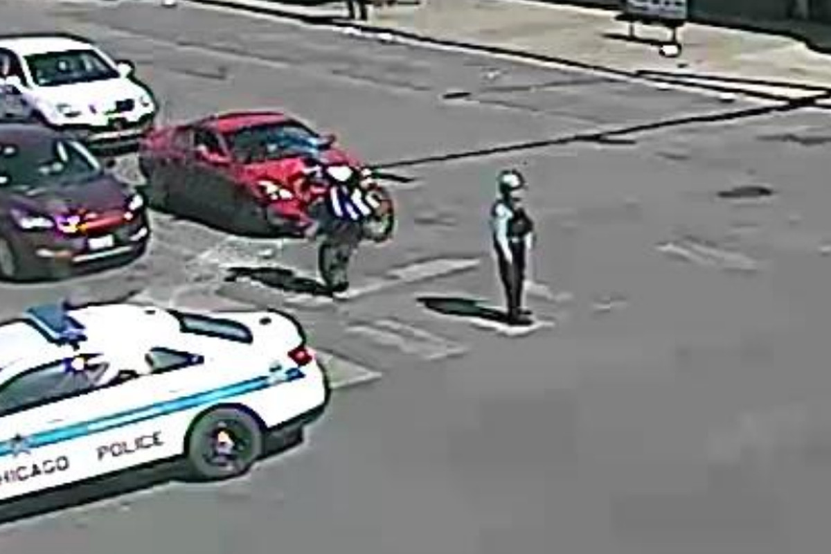 Surveillance image of a motorcyclist who hit a police officer May 31, 2020, in Austin.