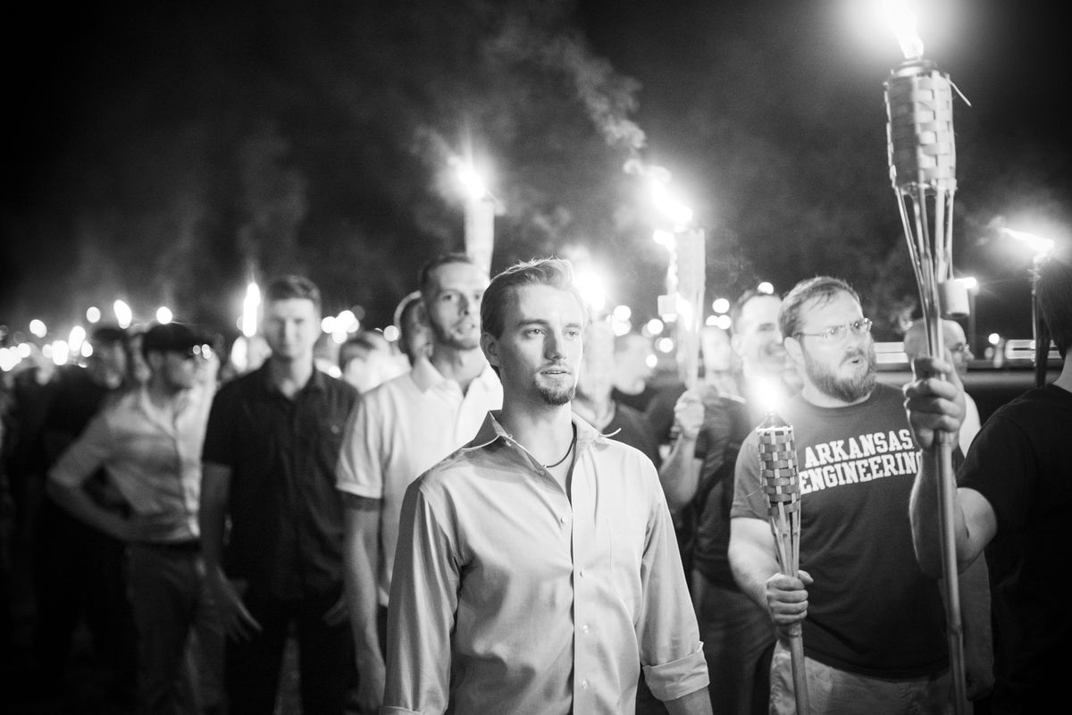 Neo Nazis, Alt-Right, and White Supremacists march the night before the 'Unite the Right' rally in Charlottesville, Virgina, on August 11, 2017.