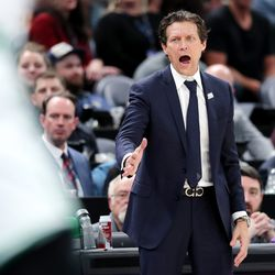 Utah Jazz head coach Quin Snyder calls out to his team as the Utah Jazz and the Boston Celtics play an NBA basketball game at Vivint Smart Home Arena in Salt Lake City on Wednesday, Feb. 26, 2020. Boston won 114-103.