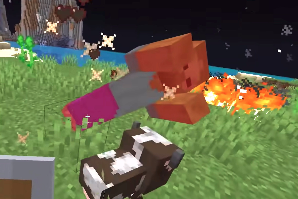 Minecraft: A guy flops over next to a cow and some fire