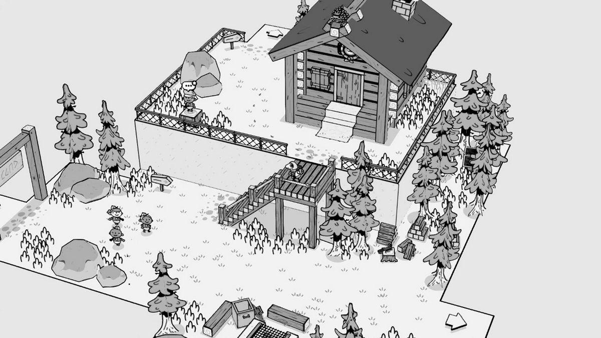 a black and white cabin scene