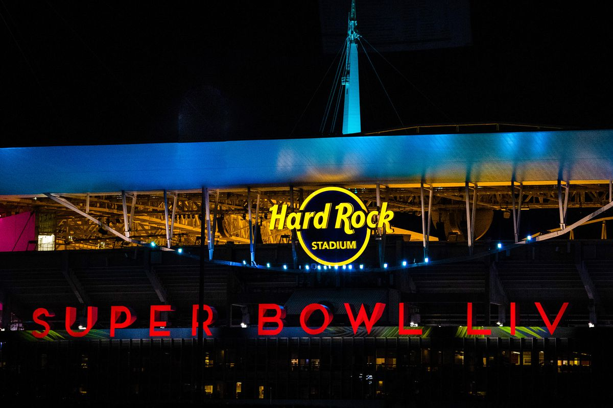 A general view of the Super Bowl LIV logo used at Hard Rock Stadium prior to Super Bowl LIV on January 25, 2020 in Miami, United States.