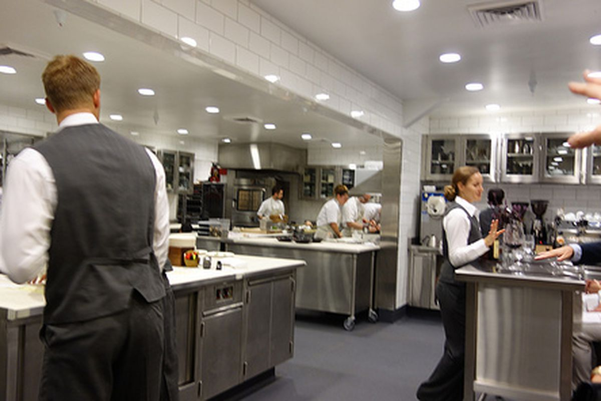 The kitchen at The Restaurant at Meadowood.