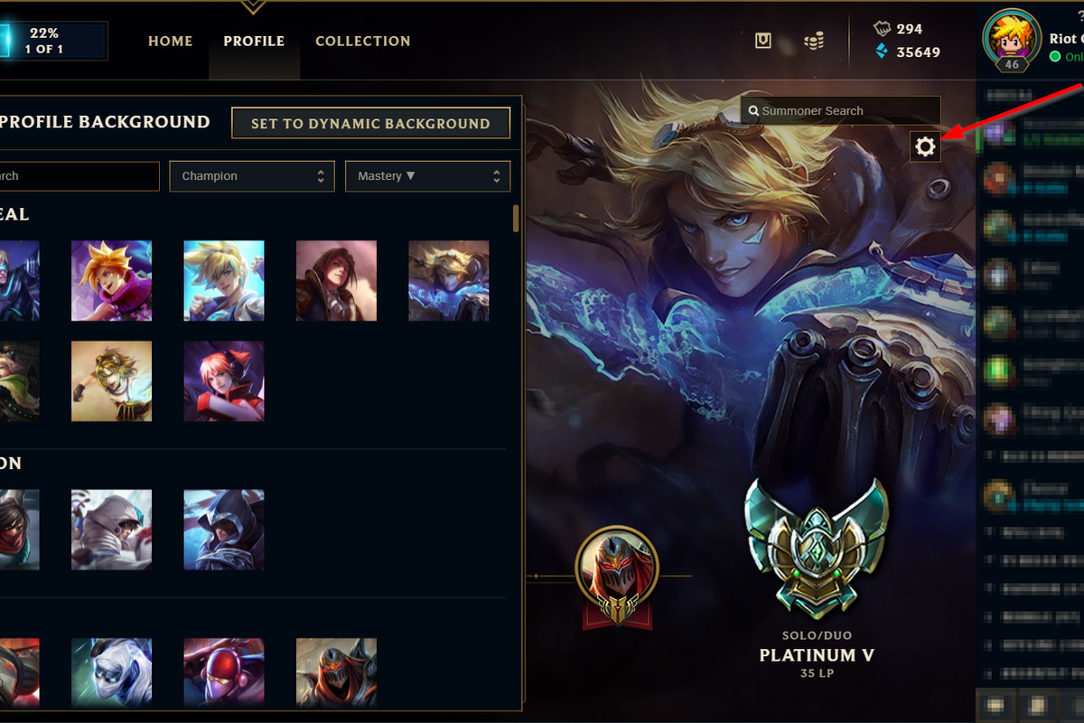 You\'ll be able to choose what champion is your profile background ...