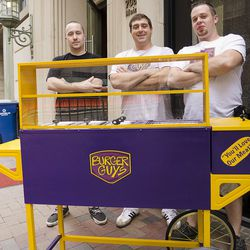 This hot dog cart will sit outside the restaurant to serve passers by