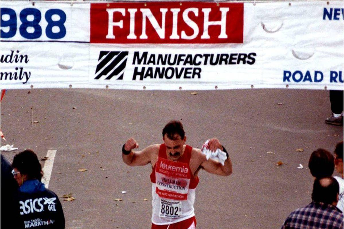 Bruce Cleland finishing the 1988 New York City Marathon