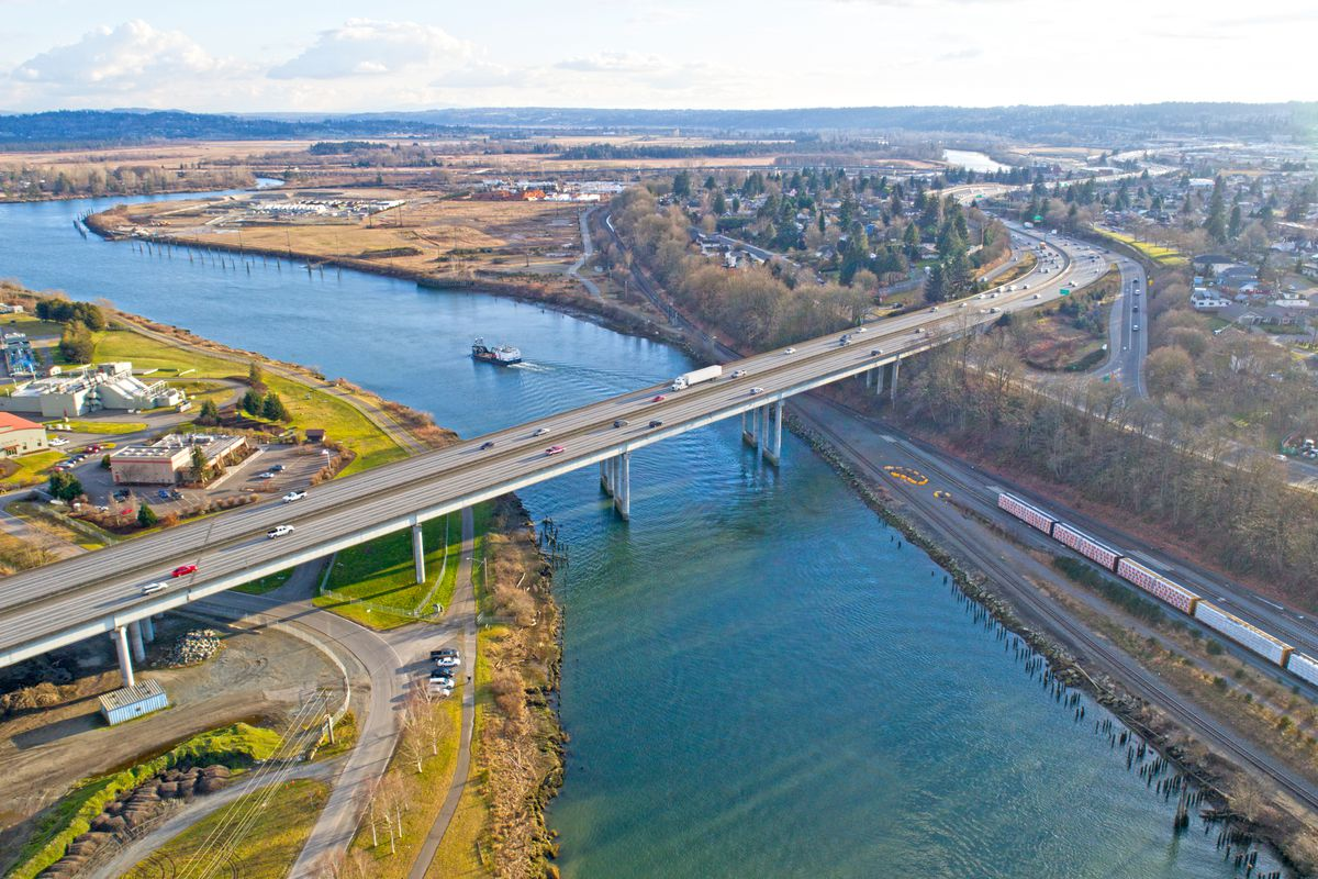 The city of Everett, viewed from above the I-5 bridge over the Snohomish River