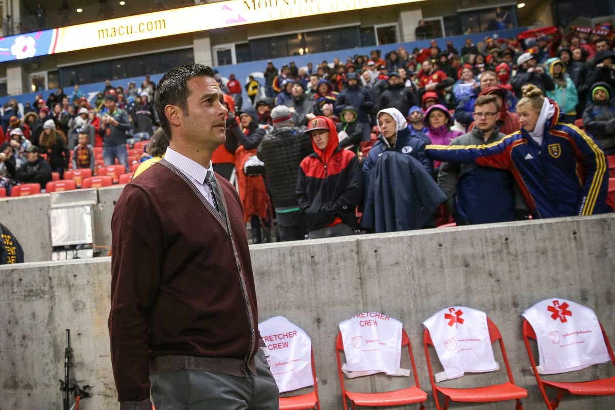 Real Salt Lake head coach Mike Petke takes to the field before the match against the Vancouver Whitecaps at Rio Tinto Stadium in Sandy on Saturday, April 08, 2017.