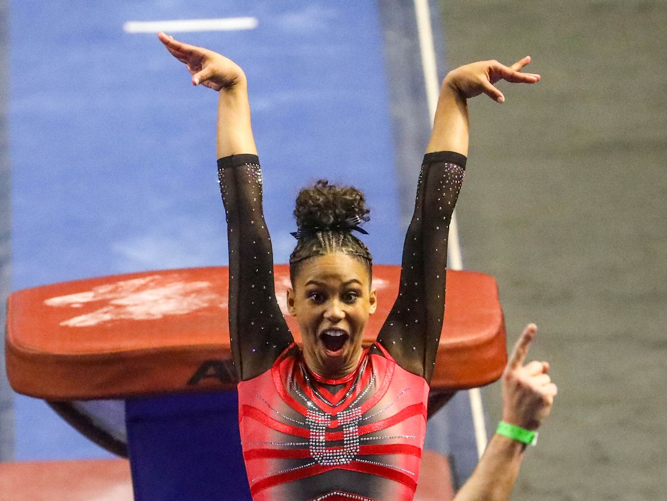 Utah Utes' Jaedyn Rucker reacts after her vault during the NCAA Regional Final Round at the Maverik Center on Saturday, April 3, 2021. The Utes are moving on to the next round.