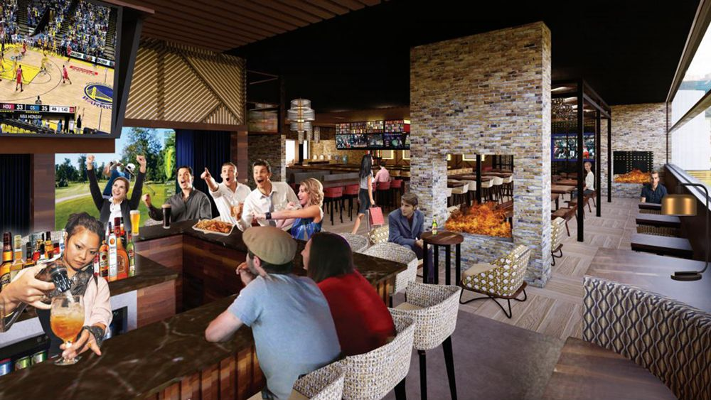 Interior rendering of the second bar at Chickie's & Pete's crab house and sports bar at the Sahara Las Vegas.