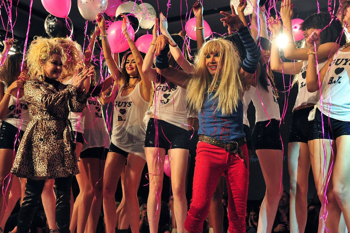 Betsey Johnson's retrospective runway show in September 2012, via Getty