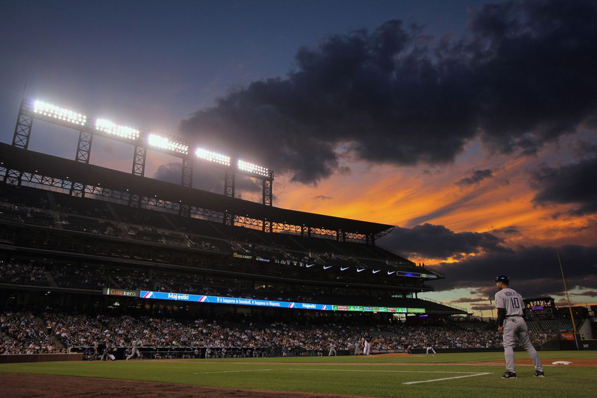 DENVER, CO - SEPTEMBER 19:  The sun sets over the stadium as the San Diego Padres face the Colorado Rockies at Coors Field on September 19, 2011 in Denver, Colorado.  (Photo by Doug Pensinger/Getty Images)