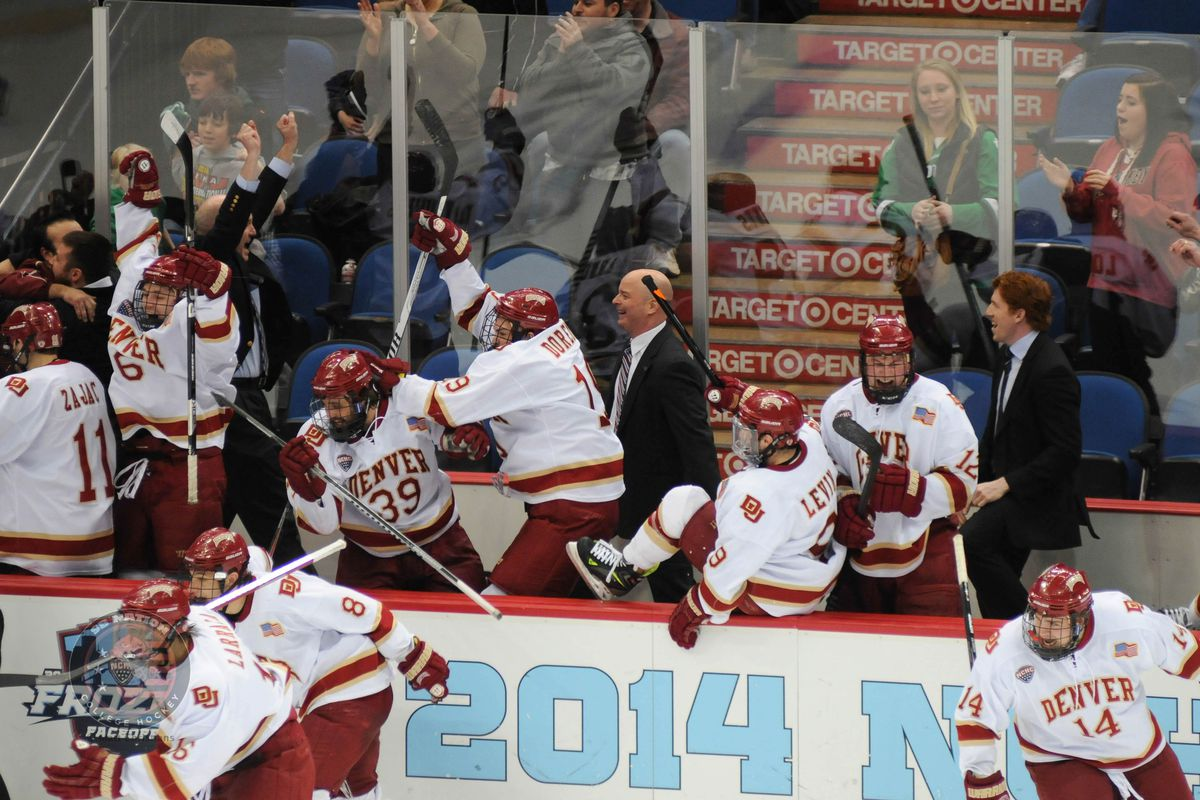 Denver celebrates winning the inaugural NCHC Frozen Faceoff
