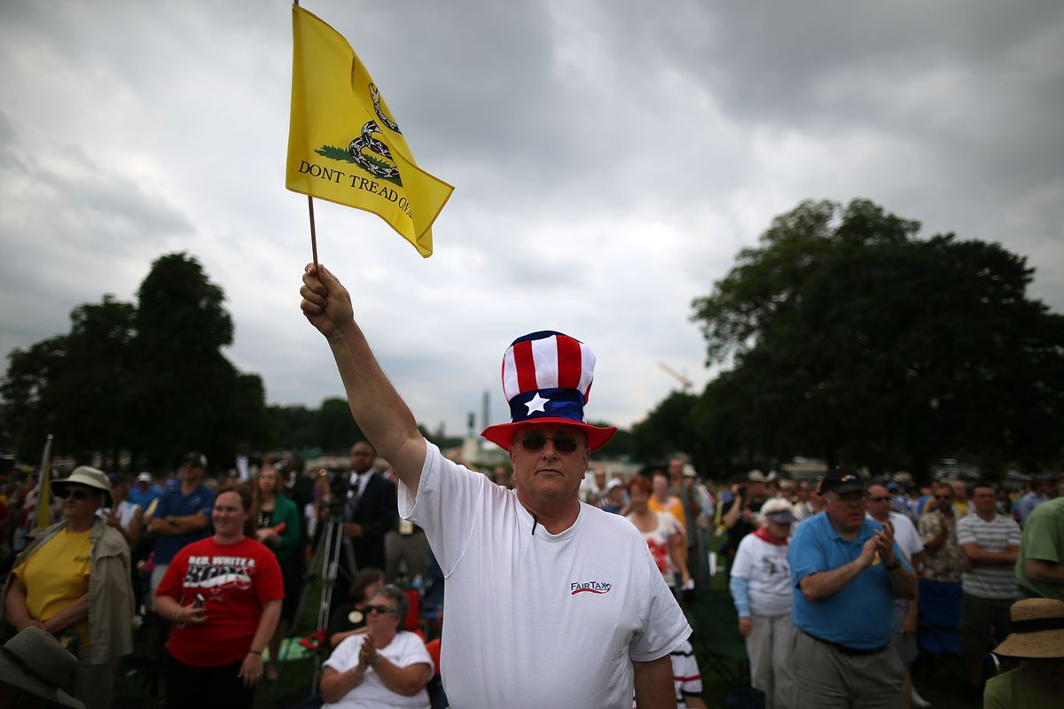 A Tea Party rally in front of the US Capitol, June 2013.