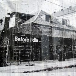 A photo of the original Before I Die installation in New Orleans.