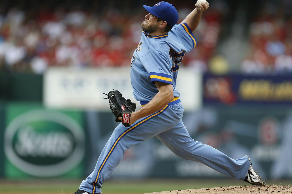 ST. LOUIS, MO - AUGUST 4: Mark Rogers #37 of the Milwaukee Brewers pitches against the St. Louis Cardinals at Busch Stadium on August 4, 2012 in St. Louis, Missouri.  (Photo by Paul Nordmann/Getty Images)