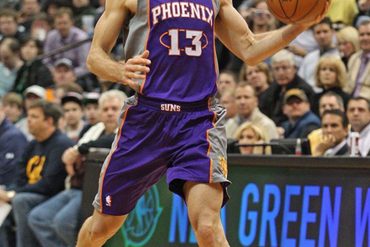 Apr 9, 2012; Minneapolis, MN, USA: Phoenix Suns guard Steve Nash (13) passes the ball to a teammate in the second half against the Minnesota Timberwolves at Target Center The Suns won 114-90. Mandatory Credit: Jesse Johnson-US PRESSWIRE