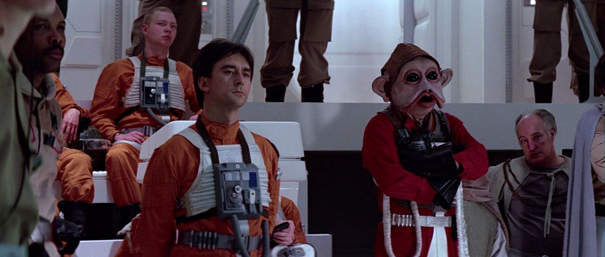 Wedge Antilles in the ready-room during Star Wars: Return of the Jedi