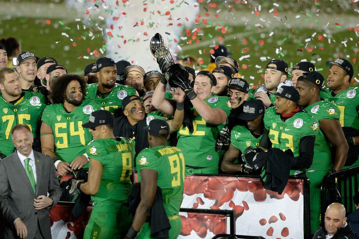 Oregon players celebrate their win on Thursday