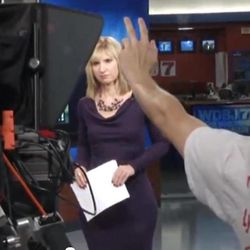 This undated frame grab taken from AP video shows a newscaster on air at television station WDBJ7 in Roanoke, Va. Political ads are blasting across the television airwaves in the Roanoke/Lynchburg Va. market, delighting broadcasters but making some viewers cringe. Blame Virginia's status as a swing state in the 2012 presidential race _ and the cheap air time in the Roanoke/Lynchburg television market. By the number of television households, with New York at the top, Roanoke is down the market size list at number 68.