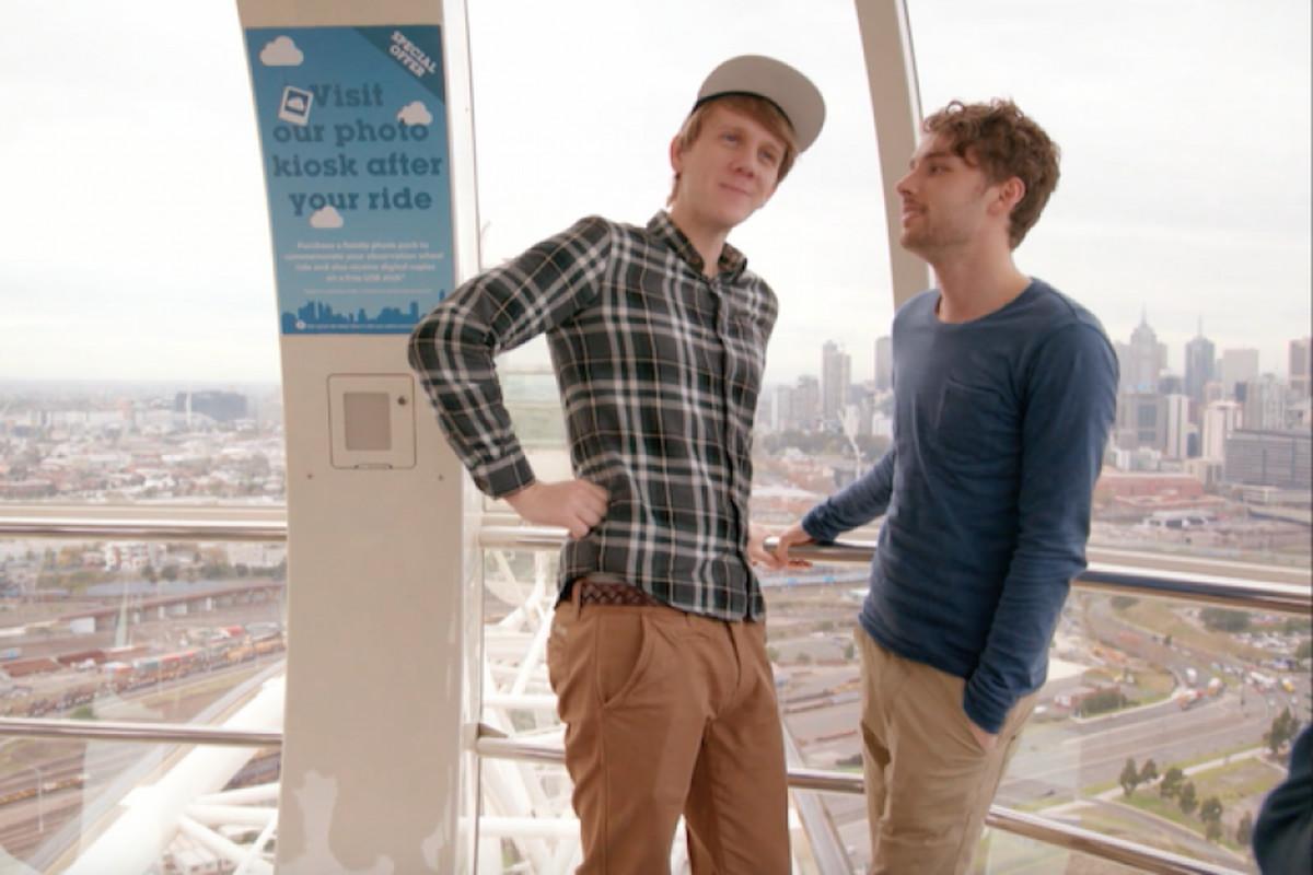 Josh (Josh Thomas) and his boyfriend Arnold (Keegan Joyce) talk out some pressing shit.