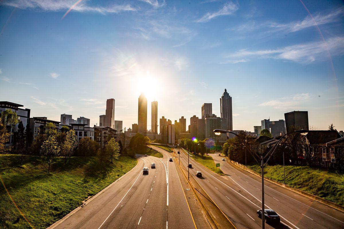 Photograph of Freedom Parkway from the Jackson Street Bridge looking toward downtown Atlanta