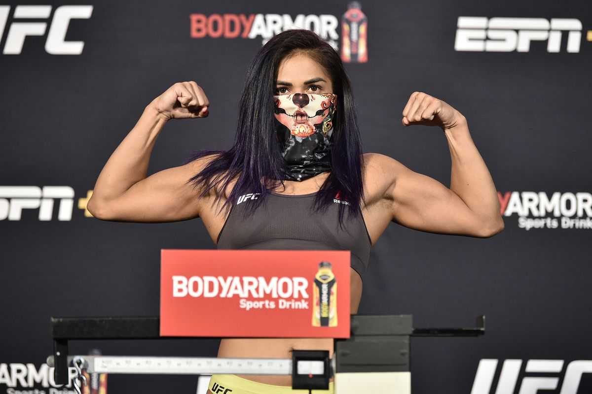 In this handout image provided by UFC, Cynthia Calvillo poses on the scale during the UFC Fight Night weigh-in at UFC APEX on June 12, 2020 in Las Vegas, Nevada.