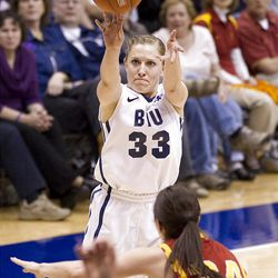 BYU's Haley Hall makes a 3-pointer in BYU's loss to USC in the third round of the National Invitational Tournament.