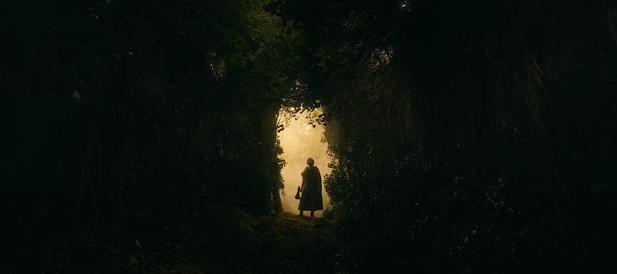 Gawain (Dev Patel) silhouetted against amber light as he looks through the dark forest ahead in The Green Knight