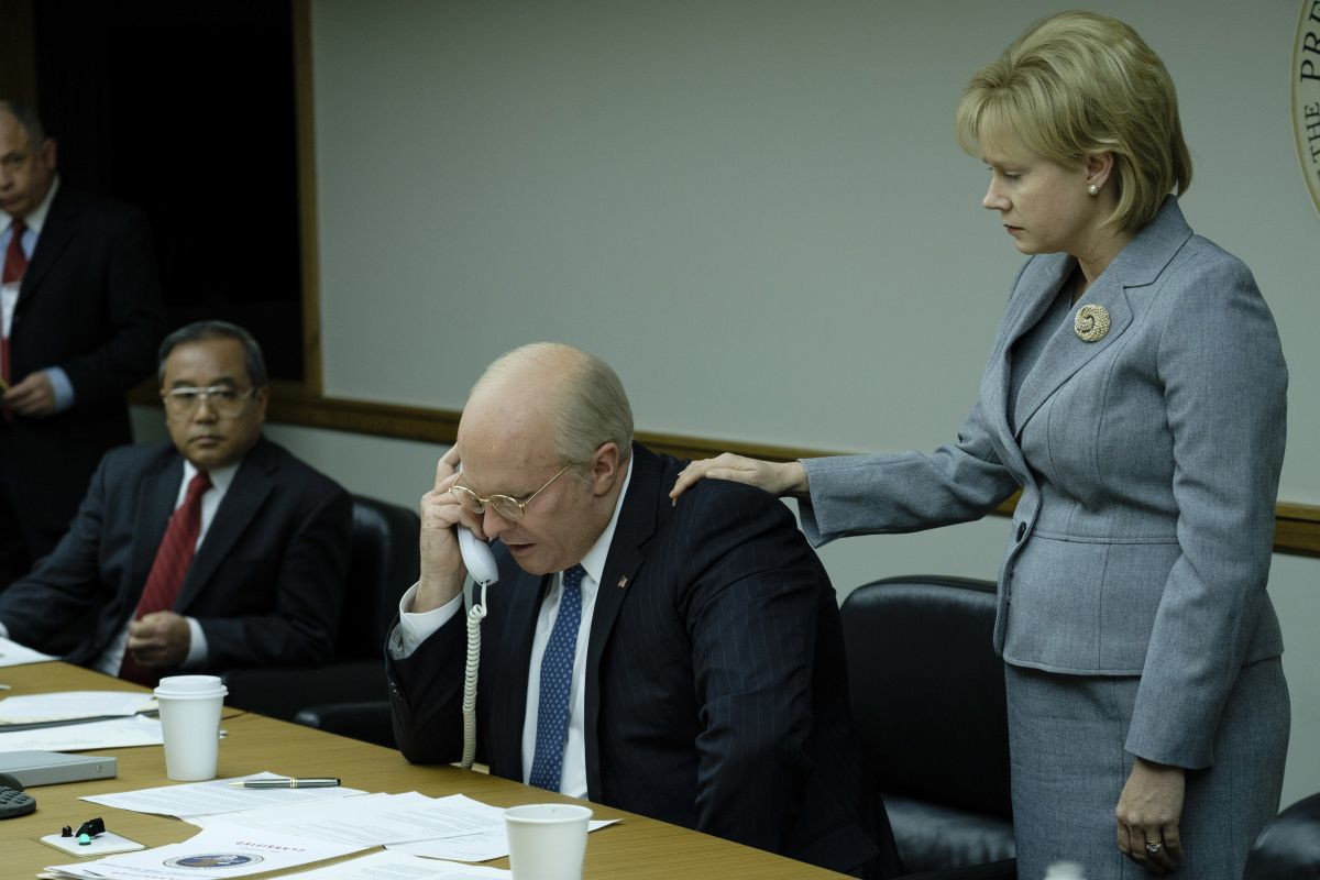 Christian Bale and Amy Adams and Dick and Lynne Cheney in Vice.