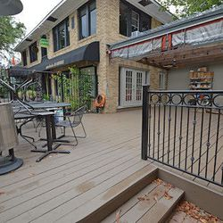 The side and front patios are dog friendly and welcoming