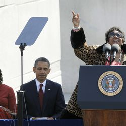 Franklin sings before President Obama speaks at the dedication of the Martin Luther King Jr. Memorial in Washington. | AP Photo