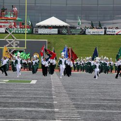 The Eastern Michigan band takes the field