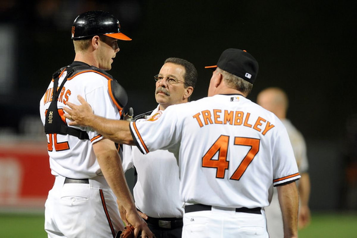 Matt Wieters is really tall. In case you forgot. (Photo by Greg Fiume/Getty Images)
