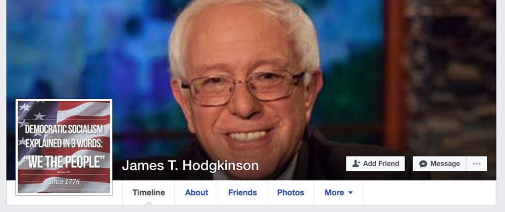 The Facebook page of James T. Hodgkinson, suspect in a shooting at a congressional baseball practice. Authorities said the suspect was wounded and taken into custody; he later died. | Facebook