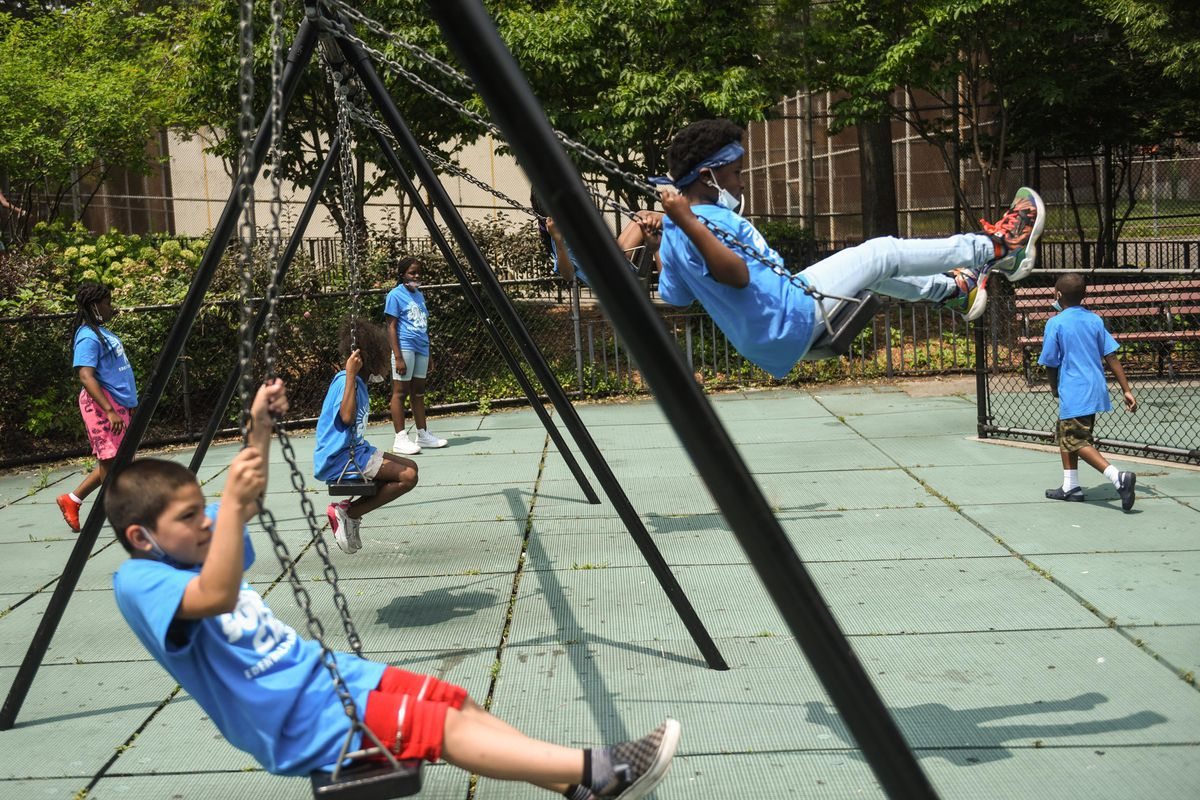 Children play at the Edenwald Houses in The Bronx, July 27, 2021.