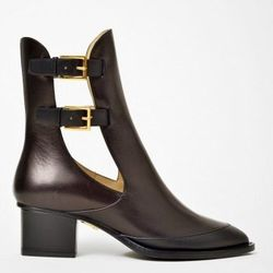 """Maiyet open side double buckle bootie, <a href=""""http://www.shopbird.com/product.php?productid=29879&cat=768&manufacturerid=&page=1"""">$239</a> (from $795)"""