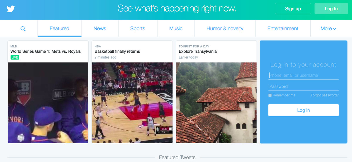 A look at Twitter's logged-out homepage